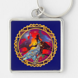 Eagle - Heavenly Wanderer № 9 Silver-Colored Square Keychain
