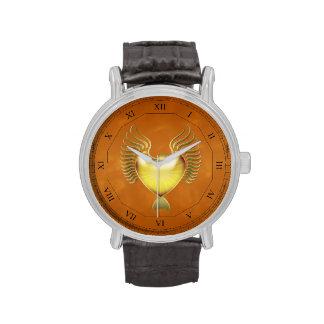 Eagle heráldico y escudo con los números romanos reloj