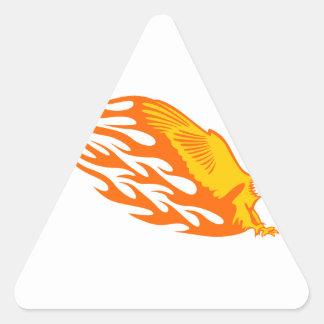 Eagle in Flames Triangle Sticker