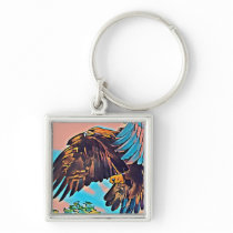 Eagle In Flight Abstract Impressionist Art Keychain