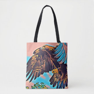 Eagle In Flight Abstract Impressionist Art Tote Bag