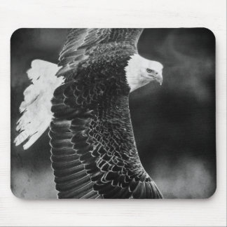 Eagle in flight black and white mousepads