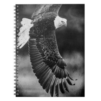 Eagle in flight black and white spiral notebook