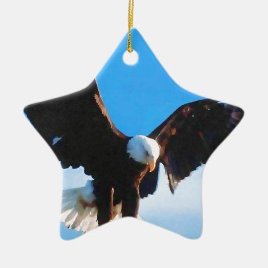 Eagle in Flight Ceramic Ornament