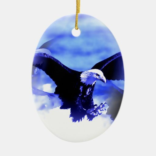 Eagle in Flight Double-Sided Oval Ceramic Christmas Ornament