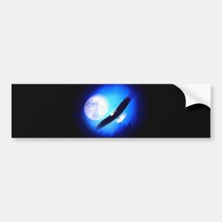 Eagle in Flight & Full Moon Bumper Sticker