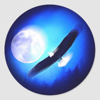 Eagle in Flight & Full Moon Classic Round Sticker