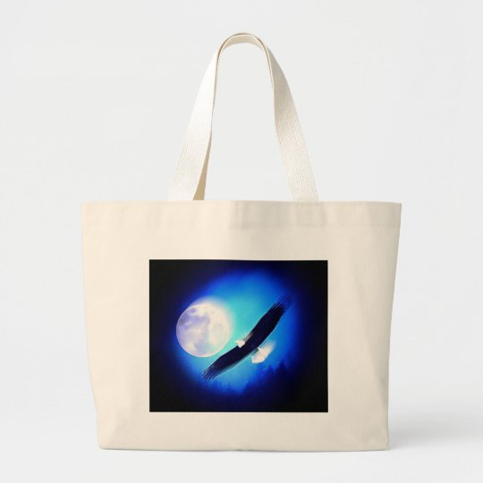 Eagle in Flight & Full Moon Large Tote Bag