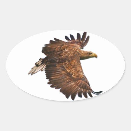 Eagle in Flight Oval Stickers