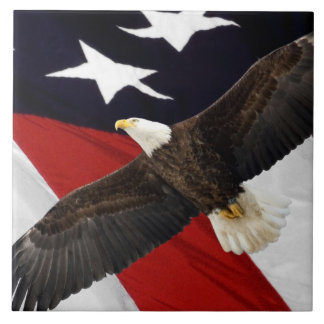 Eagle In Flight Over American Flag Ceramic Tile