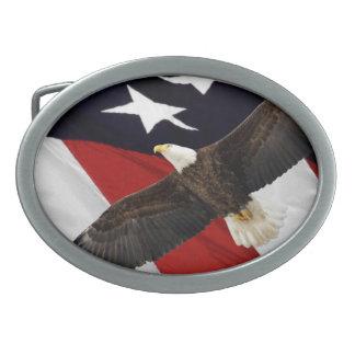 Eagle In Flight Over American Flag Oval Belt Buckle