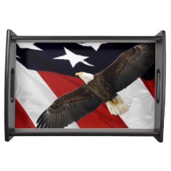 Eagle In Flight Over American Flag Service Trays