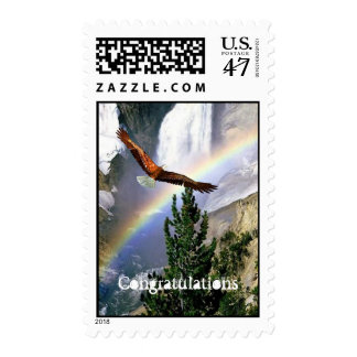 Eagle in flight - Postage Stamp - Mixed Media