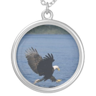eagle in flight round pendant necklace