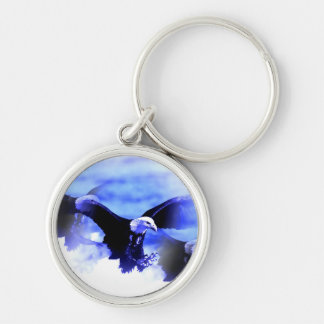 Eagle in Flight Silver-Colored Round Keychain