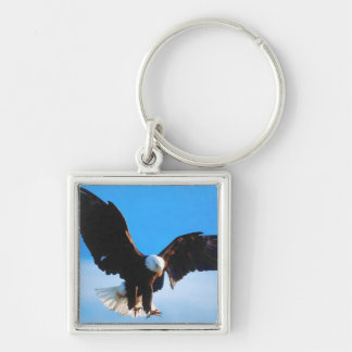 Eagle in Flight Silver-Colored Square Keychain