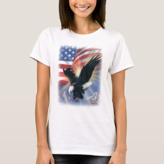 eagle in flight with flag T-Shirt