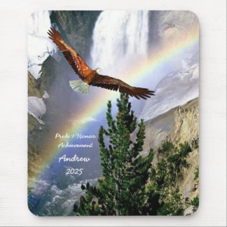 Eagle in Flight with Rainbow Mouse Pad