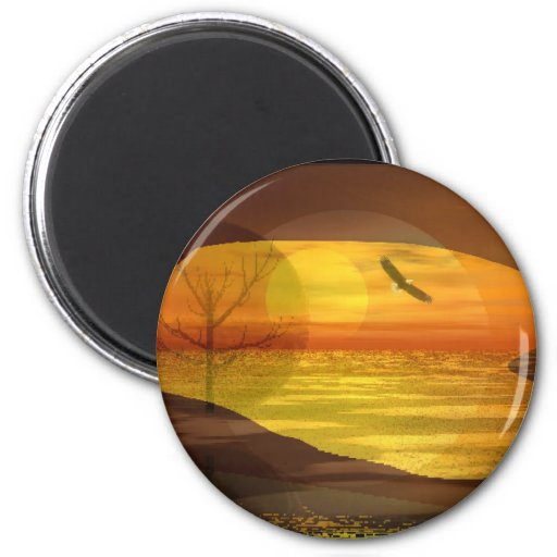 Eagle in the Sun 2 Inch Round Magnet