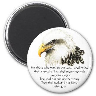 Eagle - inspirado - escritura - ellos esa espera imán redondo 5 cm