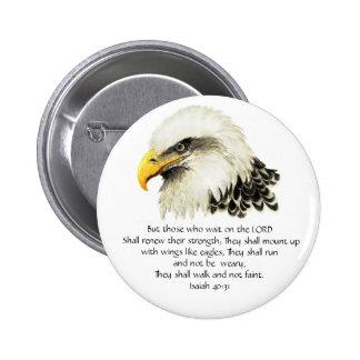 Eagle - inspirado - escritura - ellos esa espera pin redondo de 2 pulgadas