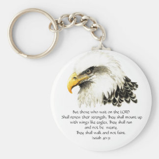Eagle - Inspirational - Scripture - They that wait Basic Round Button Keychain