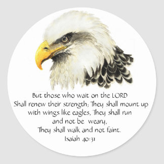 Eagle - Inspirational - Scripture - They that wait Classic Round Sticker