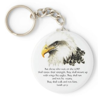 Eagle - Inspirational - Scripture - They that wait keychain