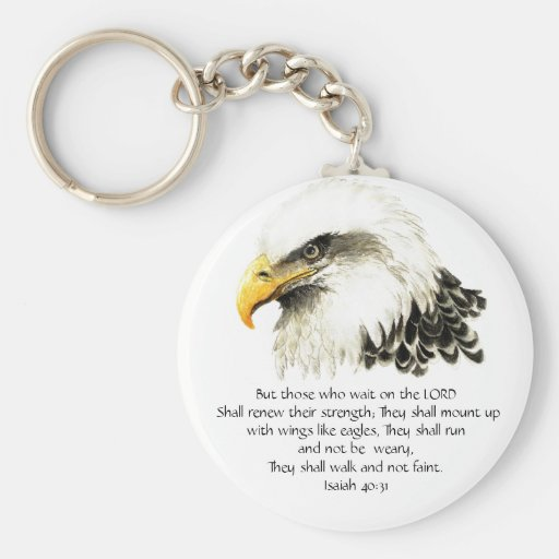 Eagle - Inspirational - Scripture - They that wait Key Chain