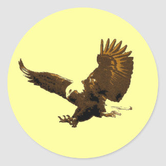 Eagle Landing Classic Round Sticker