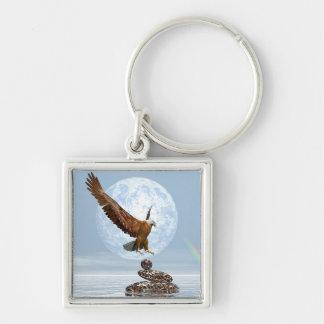 Eagle landing on balanced stones - 3D render Keychain