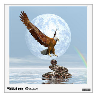 Eagle landing on balanced stones - 3D render Wall Sticker