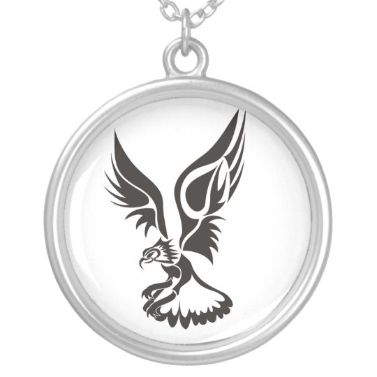 Eagle landing silver plated necklace