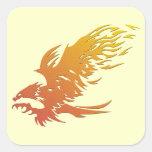 Eagle llameante con estrías pegatina cuadrada