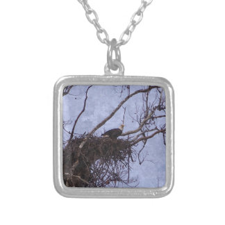Eagle Lookout Painting Silver Plated Necklace