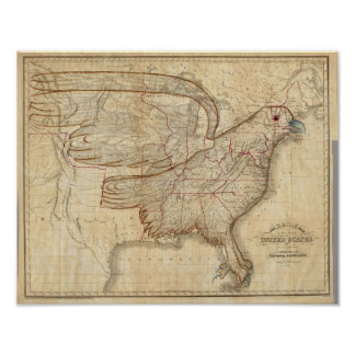 Eagle Map of the United States Poster