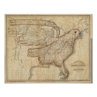 davidrumsey Eagle Map of the United States Poster