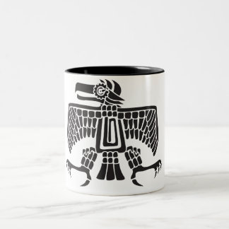 Eagle, Mexican hieroglyph(Maya) Two-Tone Coffee Mug