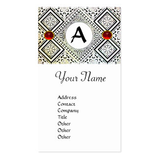 EAGLE  MONOGRAM , bright RED RUBY Business Card