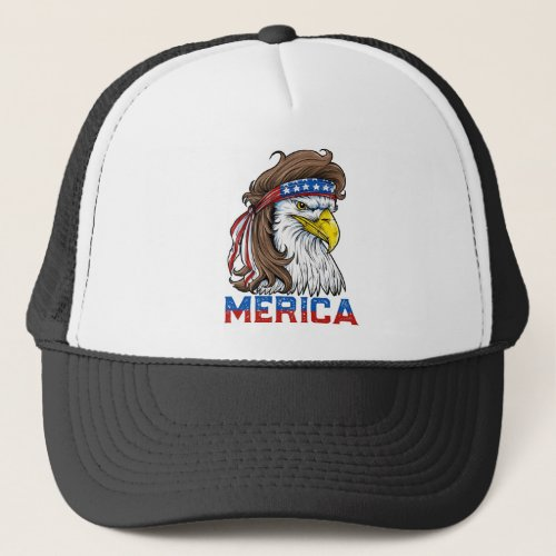 Eagle Mullet T Shirt 4th of July American Flag Trucker Hat