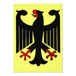 """Eagle negro federal alemán en el escudo amarillo invitación 5"""" x 7"""""""