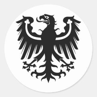 Eagle negro prusiano del este pegatina redonda