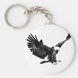 Eagle negro y blanco llavero redondo tipo pin