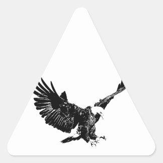 Eagle negro y blanco pegatina triangular