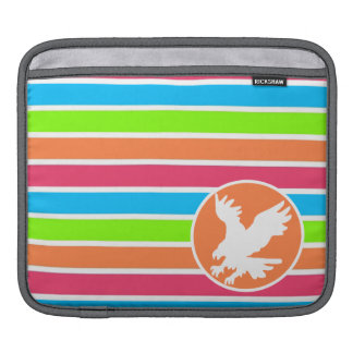 Eagle; Neon Orange Pink Blue Green Stripes Sleeve For iPads