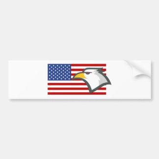 Eagle on American Flag Bumper Sticker
