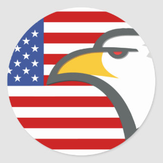 Eagle on American Flag Classic Round Sticker