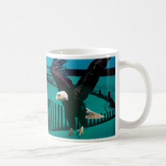 Eagle on Beach Coffee Mugs