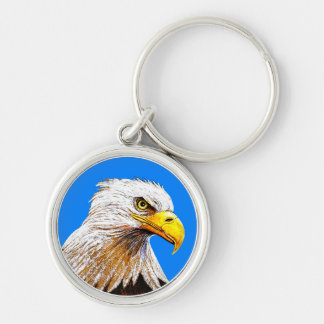 Eagle on Blue Silver-Colored Round Keychain