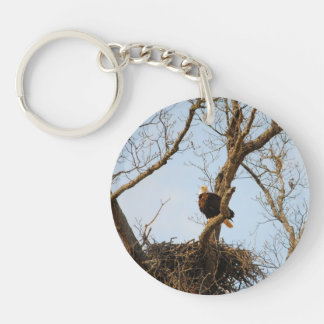 Eagle on Branch Single-Sided Round Acrylic Keychain